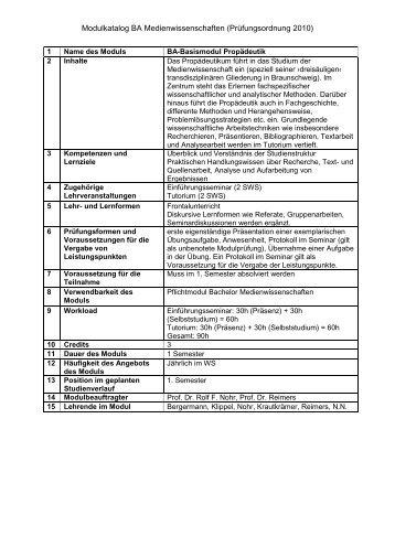 Modulkatalog BA Medienwissenschaften (Prüfungsordnung 2010)
