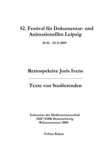 Leipzig 2009: Retrospektive Joris Ivens - Medienwissenschaften
