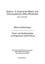GoEast - 9. Festival des Mittel - Medienwissenschaften