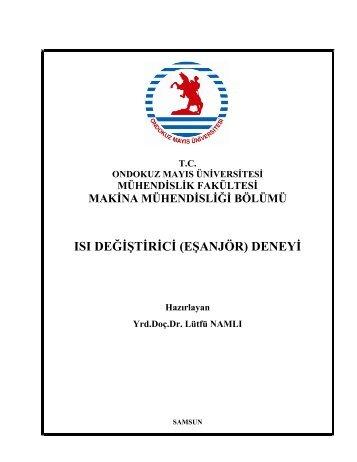 Isı Değiştirici (Eşanjör) Deneyi - Ondokuz Mayıs Üniversitesi ...