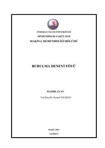 burulma deneyi föyü - Ondokuz Mayıs Üniversitesi Mühendislik ...