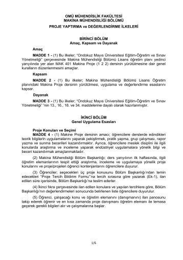 Proje Yaptırma ve Değerlendirme İlkeleri (PDF) - Ondokuz Mayıs ...