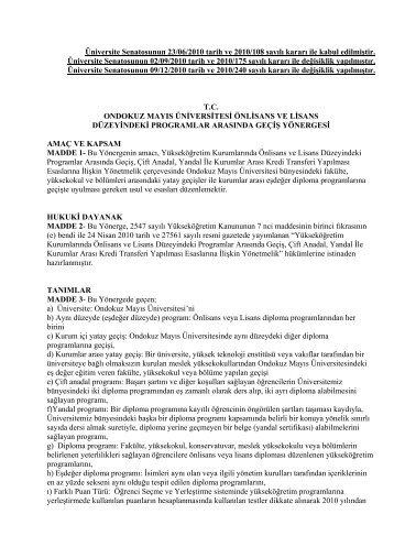 Ondokuz Mayıs Üniversitesi Önlisans ve Lisans Düzeyindeki ...