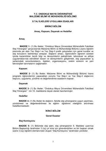 Staj İlkeleri Uygulama Esasları (PDF) - Ondokuz Mayıs Üniversitesi ...