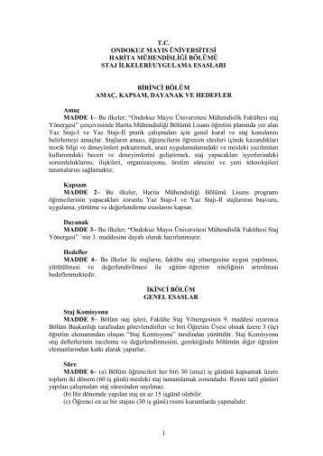 Bölüm Staj İlkeleri - Ondokuz Mayıs Üniversitesi Mühendislik Fakültesi