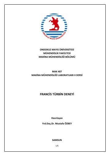 francis türbin deneyi - Ondokuz Mayıs Üniversitesi Mühendislik ...