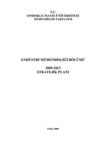 Stratejik Plan - Ondokuz Mayıs Üniversitesi Mühendislik Fakültesi