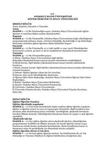 Ondokuz Mayıs Üniversitesi Eğitim-Öğretim ve Sınav Yönetmeliği