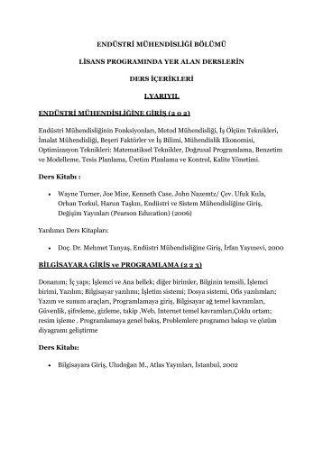 Ders İçerikleri - Ondokuz Mayıs Üniversitesi Mühendislik Fakültesi