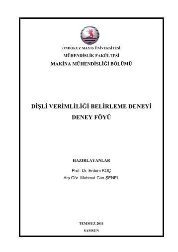 Dişli Verimliliği Belirleme Deneyi - Ondokuz Mayıs Üniversitesi ...
