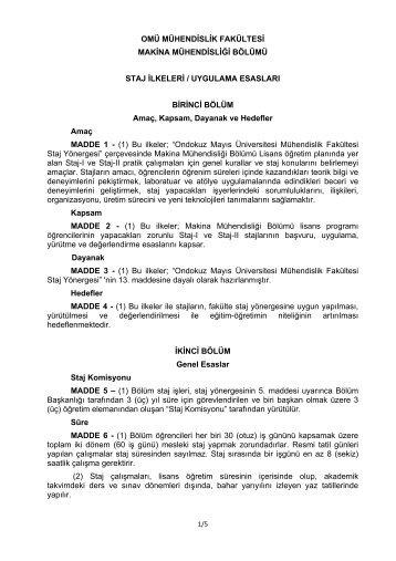Staj İlkeleri/Uygulama Esasları (PDF) - Ondokuz Mayıs Üniversitesi ...