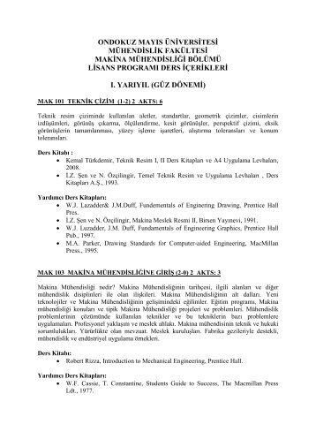 MAKİNE MÜHENDİSLİĞİ BÖLÜMÜ - Ondokuz Mayıs Üniversitesi ...