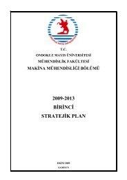 1. Stratejik Plan - Ondokuz Mayıs Üniversitesi Mühendislik Fakültesi