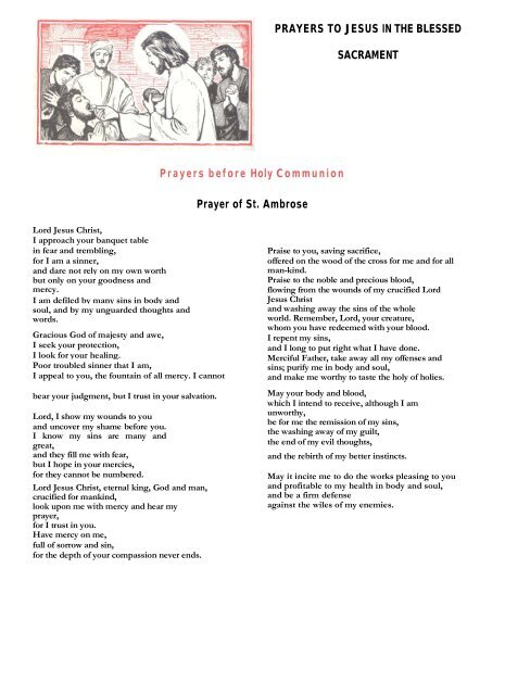 Prayers Before and After Holy Communion - MGS Prayers Website