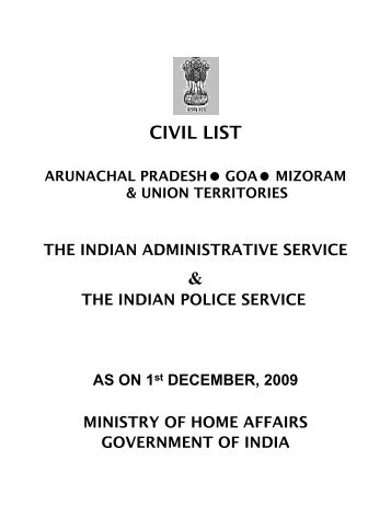 CIVIL LIST & - Ministry of Home Affairs