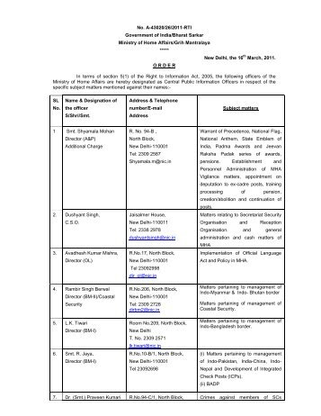 Ministry of Home affairs_CPIOs.pdf - RTI India