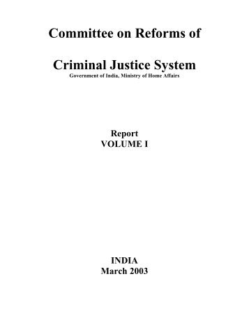 Dr. Justice V.S. Malimath Report First pages - Ministry of Home Affairs