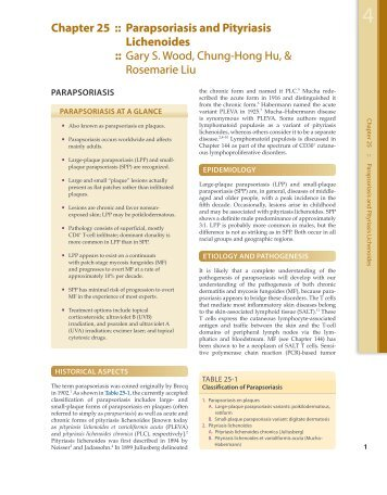 Chapter 25 :: Parapsoriasis and Pityriasis Lichenoides :: Gary S ...