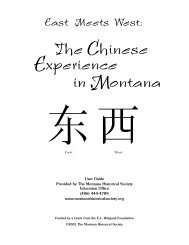 The Chinese Experience in Montana - Montana Historical Society