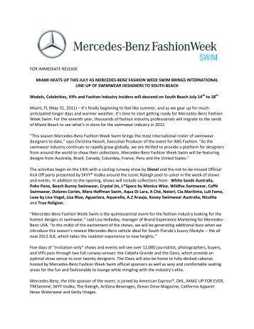 Benz Fashion Week Swim is an IMG event. - Mercedes-Benz ...