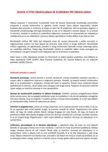 Izjava o etiki objavljanja in zlorabah pri objavljanju - Muzikološki ...