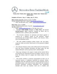 MEDIA ALERT Swim Day 2 - Mercedes-Benz Fashion Week