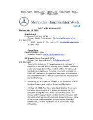 event wide media alert - Mercedes-Benz Fashion Week