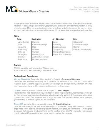 Resume (pdf) - Michael Glass Arts