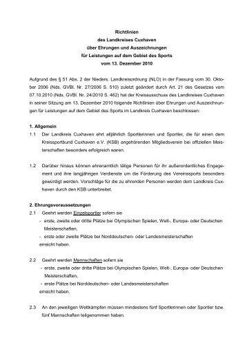 Richtlinien Sportlerehrung 13122010 - beim Landkreis Cuxhaven