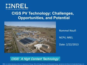 CIGS PV Technology: Challenges, Opportunities ... - Berkeley Microlab
