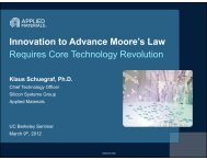 Innovation to Advance Moore's Law Requires ... - Berkeley Microlab