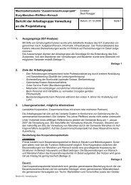 Bericht der Arbeitsgruppe Verwaltung an die Projektleitung