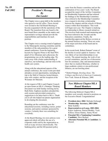 No. 89 Fall 2002 PDF - Midwest Chapter MLA