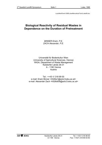 Biological Reactivity of Residual Wastes in Dependence on the ...