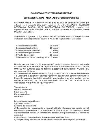 concurso jefe de trabajos practicos - Universidad de Buenos Aires