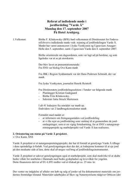 """Referat af indledende møde i jordfordeling """"Varde Å"""" - SNÆBEL ..."""