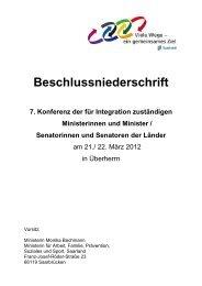 Beschlussniederschrift der 7. IntMK - Ministerium für Integration ...