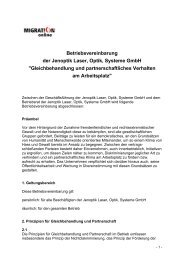 Betriebsvereinbarung der Jenoptik Laser, Optik ... - Migration-online