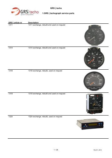 GRS | tacho 1.GRS | tachograph service parts