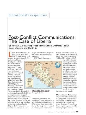 the development of liberia essay The liberian conflict began in 1979 with civil unrest and ended in 2003 with the forced exile of the then president charles taylor during this 24years period several leading development agencies have designed conflict analysis tools to help them to better target their development work and to ensure.