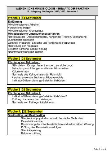 Woche 1 14 September Woche 2 21 September Woche 3 28 ...
