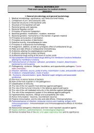 MEDICAL MICROBIOLOGY Final exam questions for medical