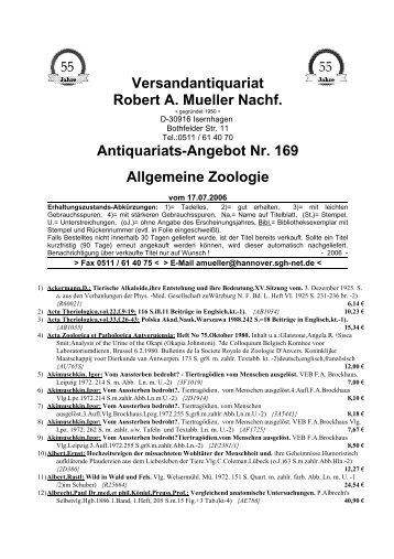 Antiquariats-Angebot Nr. 169 Allgemeine Zoologie - Antikbuch24