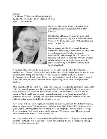 Obituary Don Rhodes, 73, longtime aide to Bush family By ALLAN ...