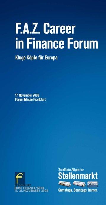 Flyer F.A.Z. Career in Finance Forum