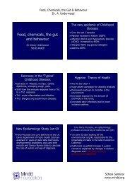 Food, Chemicals, the Gut & Behaviour,Dr. A. Underwood