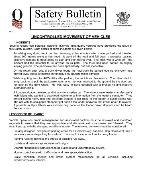 PDF, 18 kB - Queensland Mining and Safety