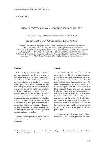 familia y primera infancia: un estado del arte. 1994-2005 - Revistas ...