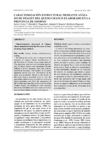 Caracterización estructural mediante análisis de imagen del queso