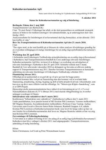 Status for Københavnertunnelen og valg af linieføring